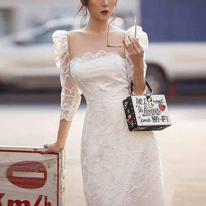 2020 새로운 한국 레이스 Bodycon 슬림 드레스 여성 우아한 세 분기 소매 여름 드레스 섹시한 평방 칼라 작업복 Vestidos