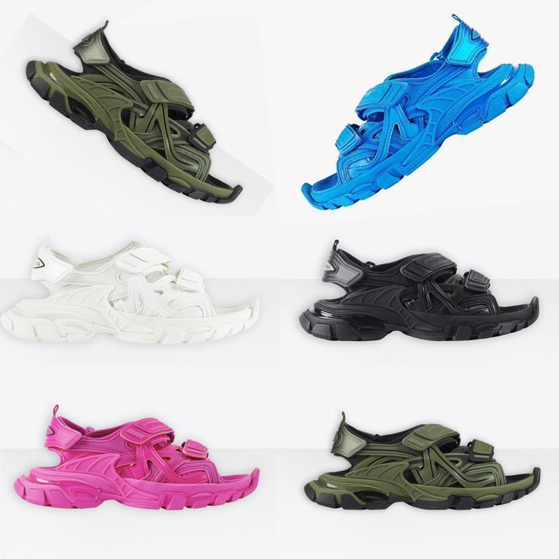 Новые сандалии трек Платформа Мода мужчины Женщины мужские кроссовки тапочки Розовый Белый Черный Синий Слайды Бич Повседневная обувь Толстые дном StY gelm #