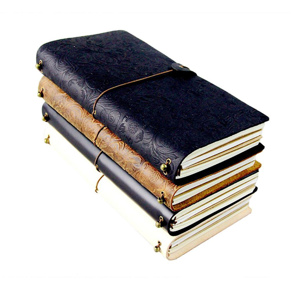 Aucun cuir vintage couverture papier journal cahier vierge carnet de notes Bloc-notes Replaceable voyageurs Papeterie Fournisseurs r20
