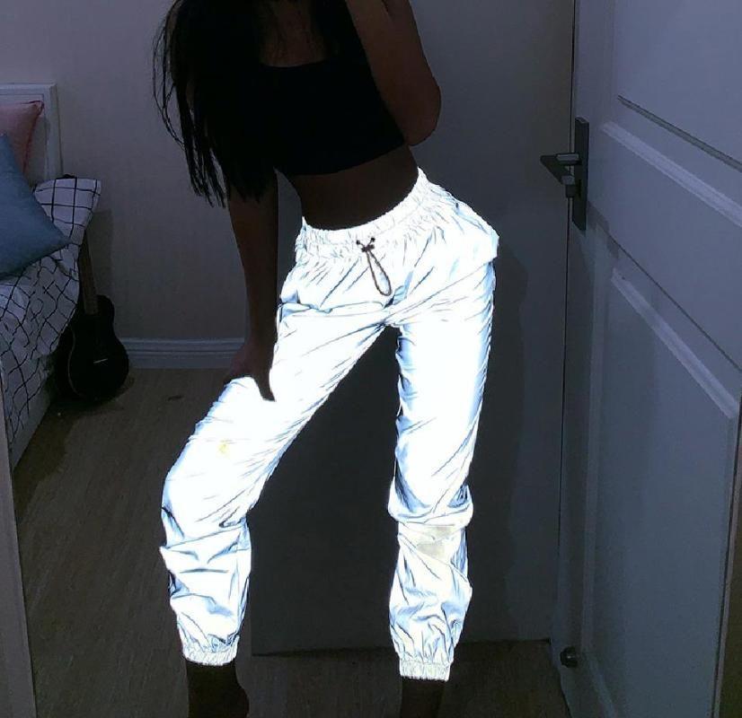 Kadınlar Şık Kişiselleştirilmiş Flaş Yansıtıcı Gece jogger Hip Hop Pantolon Yumuşak Casual gri Lacing Harem pantolon Streetwear Artı boyutu