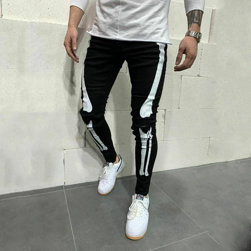 Blanc rayé Jeans Hop Skeleton Imprimer Skinny Jean Biker Cowboy Mode Casual Black Denim Slim Fit Pant pour hommes genou trou