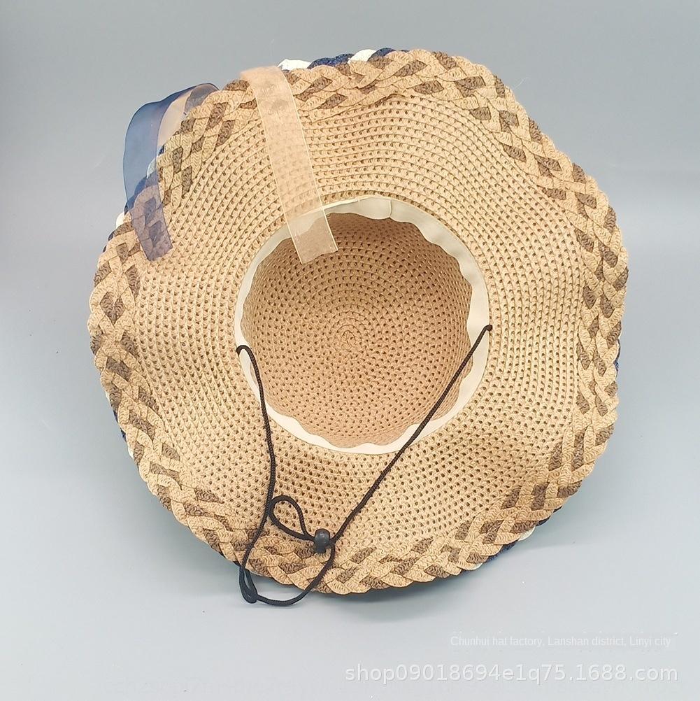 EapST Verão grandes beirais hatRibbon Straw Hatsun onda proteção de borda de fita coroa das mulheres praia chapéu de sol ao ar livre palha de papel chapéu grama all-m