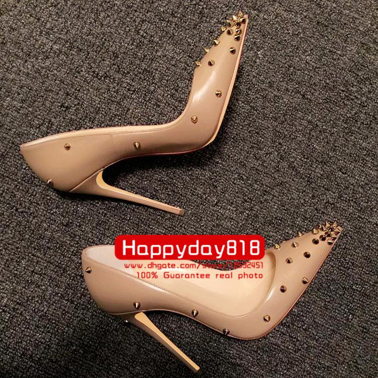 Free shipping fashion women pumps sexy lady Nude matt spikes studded point toe high heels shoes Boots come with dustbag box real leather