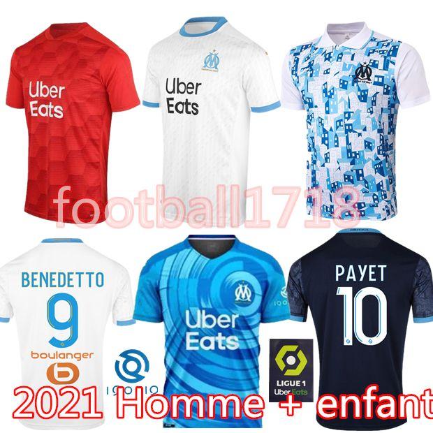 Olympique de Marseille futbol forması 2020 2021 OM Marsilya Maillot De Ayak PAYET THAUVIN BENEDETTO Polo formaları 20 21 Marsilya gömlekler