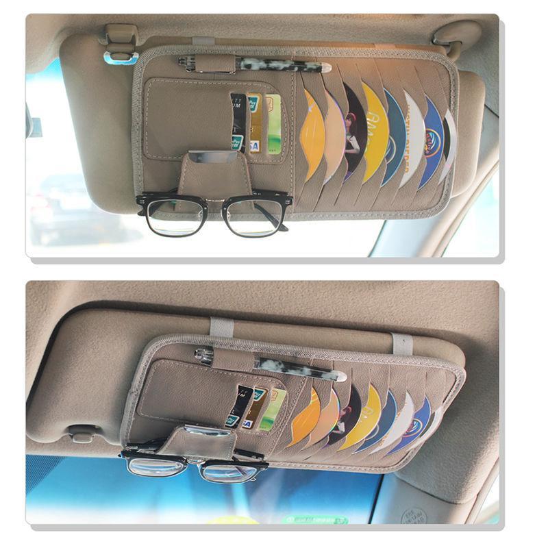PU cuir voiture pare-soleil Organisateur de stockage 3 couleurs Porte multifonctions CD Cartes Lunettes de soleil clip voiture Accessoires Organisateur