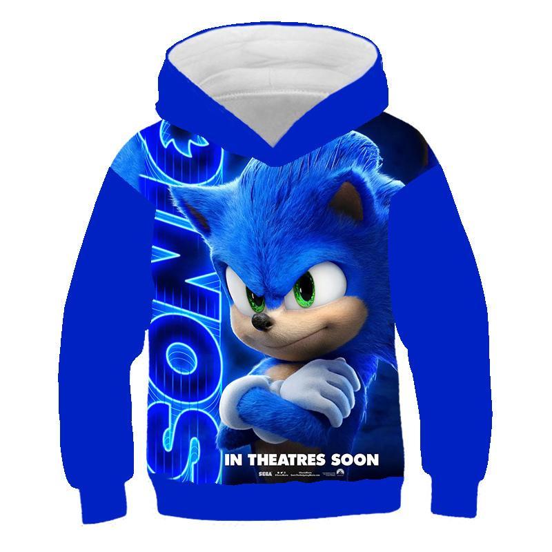 Sonic The Hedgehog 3D Hoodie Coat дети фуфайка 3D Толстовка Пуловеры Верхней одежда Hoodie девушка мальчики костюмы Streetwear Y200724