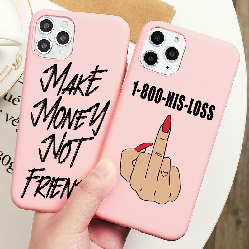 Drôle faire de l'argent pas d'amis STACKS Noir Préfète femmes Case pour iPhone 11 Pro Max X XR XS 8 7 6 S Plus SE 2020 Silicon Cover
