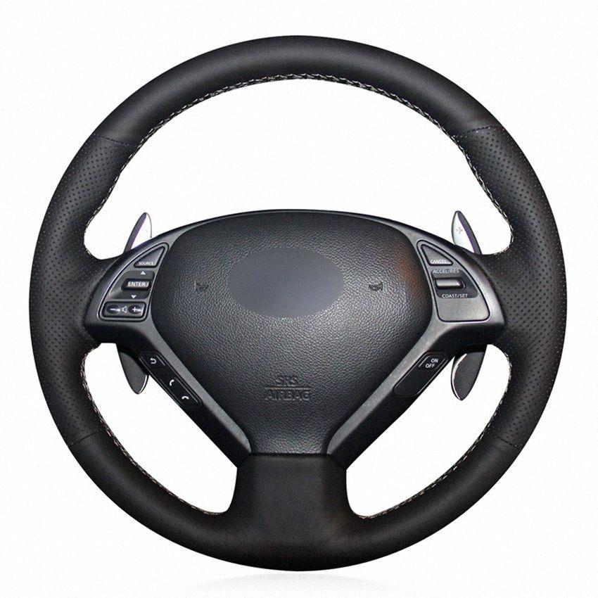 Черный PU искусственной кожи Рулевое управление DIY Ручная прошитой колеса автомобиля Обложка для Infiniti G25 G35 G37 EX EX35 EX37 Q Q40 Q60 QX50 США qz9d #