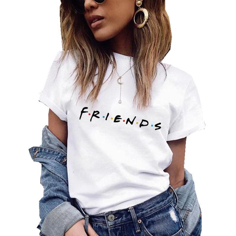친구 인쇄 T 셔츠 여름 여성 짧은 소매 레저 맨 티 캐주얼 여성 여성 T 셔츠 플러스 사이즈 여성 의류