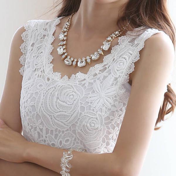 Blusinhas chemisier femme blusinha feminina de renda Blusas Camisas mujeres tapas feminino Branca cordón del chaleco de la camisa femenina blusas