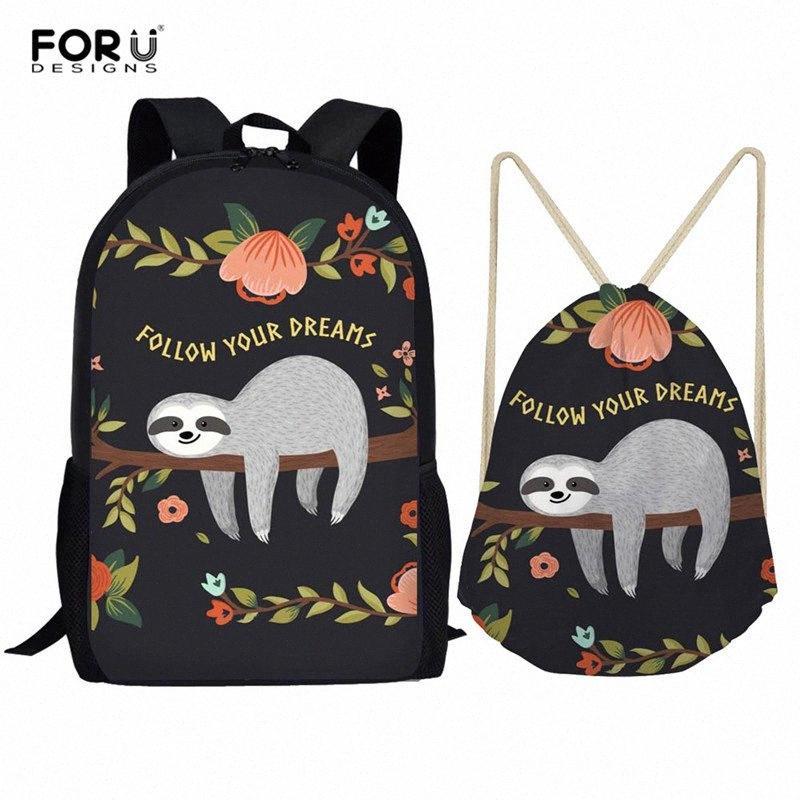 FORUDESIGNS Rucksack-Frauen-nette Sloth Print Rucksäcke Studenten Schultaschen für Teenager Mochila Feminina Sac A Dos Hand Rucks NbFN #