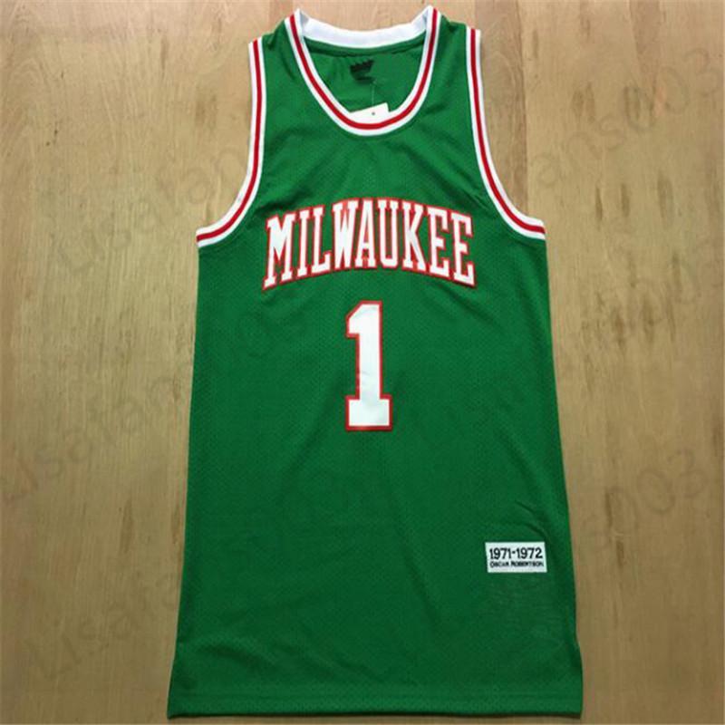 Ходкие трикотажные изделия 1 Оскар Робертсон 1971-1972 зеленый мужского баскетбола прошитой сетка Джерси размера S-3XL бесплатной доставки