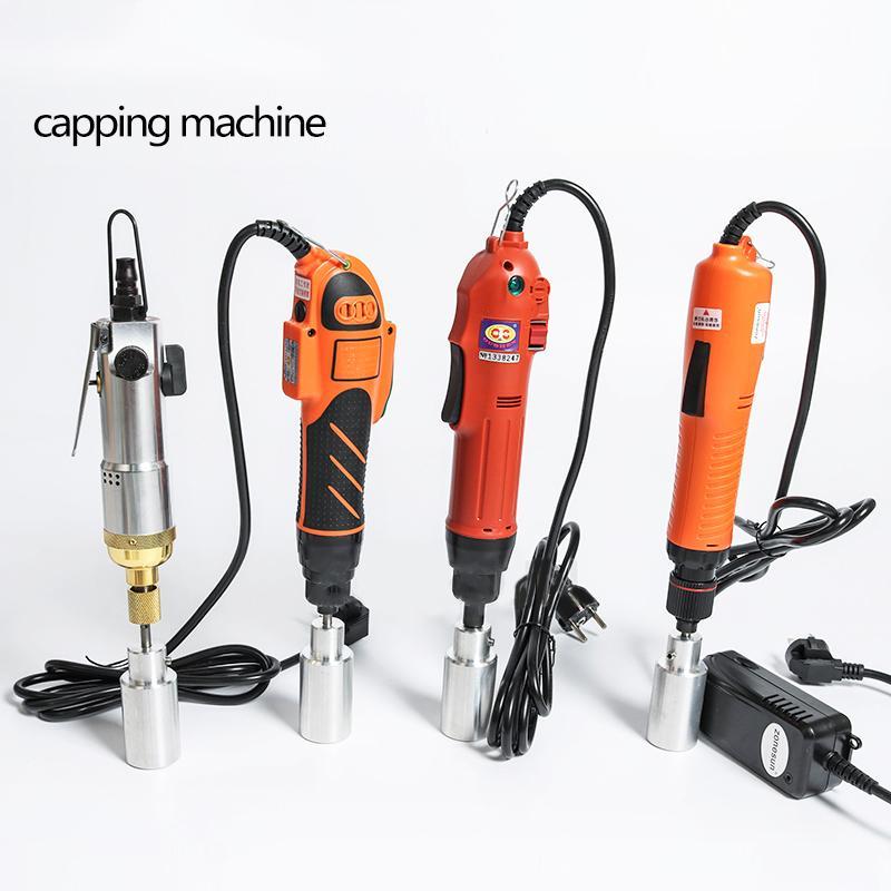 80W 100W 120W pneumática opcional Mix Up tampando máquina portátil elétrica com segurança Anel álcool desinfetante garrafa Capper Screwing