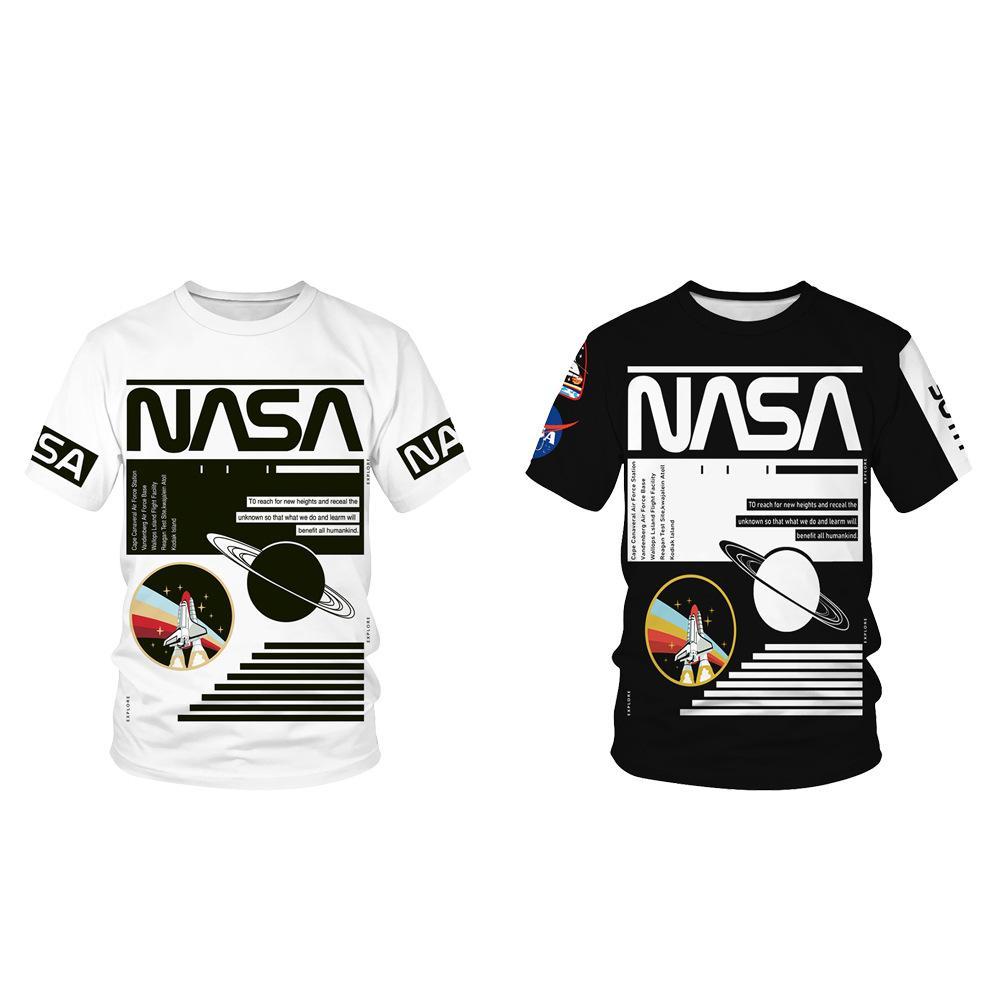 Européens et américains d'été New NASA Digital Planet impression Couples col rond manches courtes T-shirt décontracté Hommes Shirt Fashion