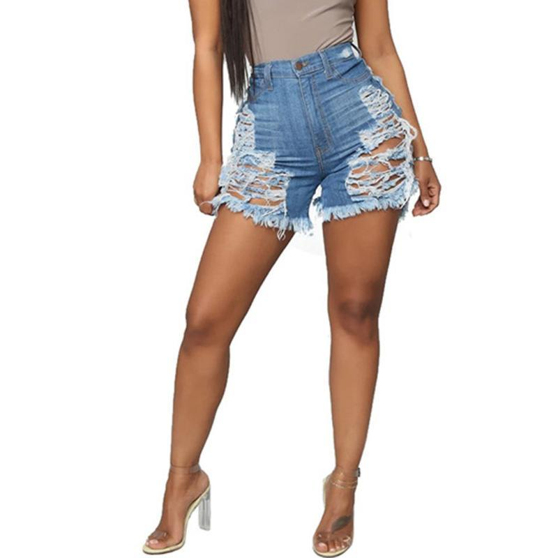 Fashion Women Sexy Holey Hollow Up Jeans Tassels Button Slim Denim Shorts Pants Casual Zipper Denim Shorts With Pockets #3