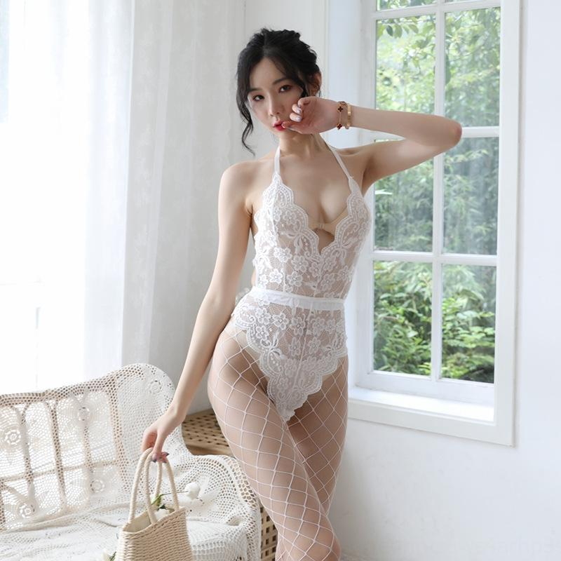 New sexy lace underwear underwear sexy pendurado no pescoço macacão sem encosto rendas triângulo jumpsuit das mulheres