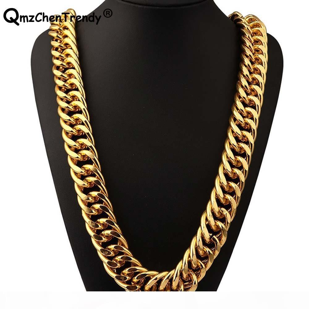 T Show 26mm Width 322g Super Heavy Women Mens Thick Miami Cuban Chain Necklaces Golden Silver Bling Hip Hop Exaggerated Jewelry C19041601