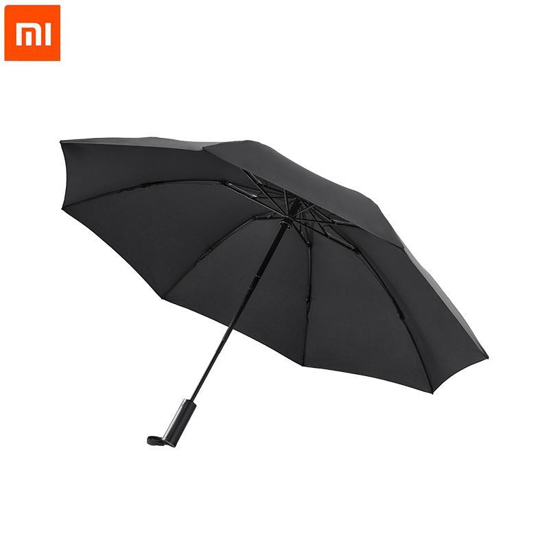 Xiaomi 90Fun automatique arrière pliant parapluie Hommes lumineux LED coupe-vent affaires solide parapluie Revêtement anti-UV