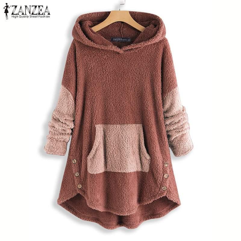2020 Invierno con capucha Pacthwork Sudaderas Zanzea Sudaderas con capucha Abrigos mullidos Moda Fleece Pullovers Outwears Túnica femenina 5xl
