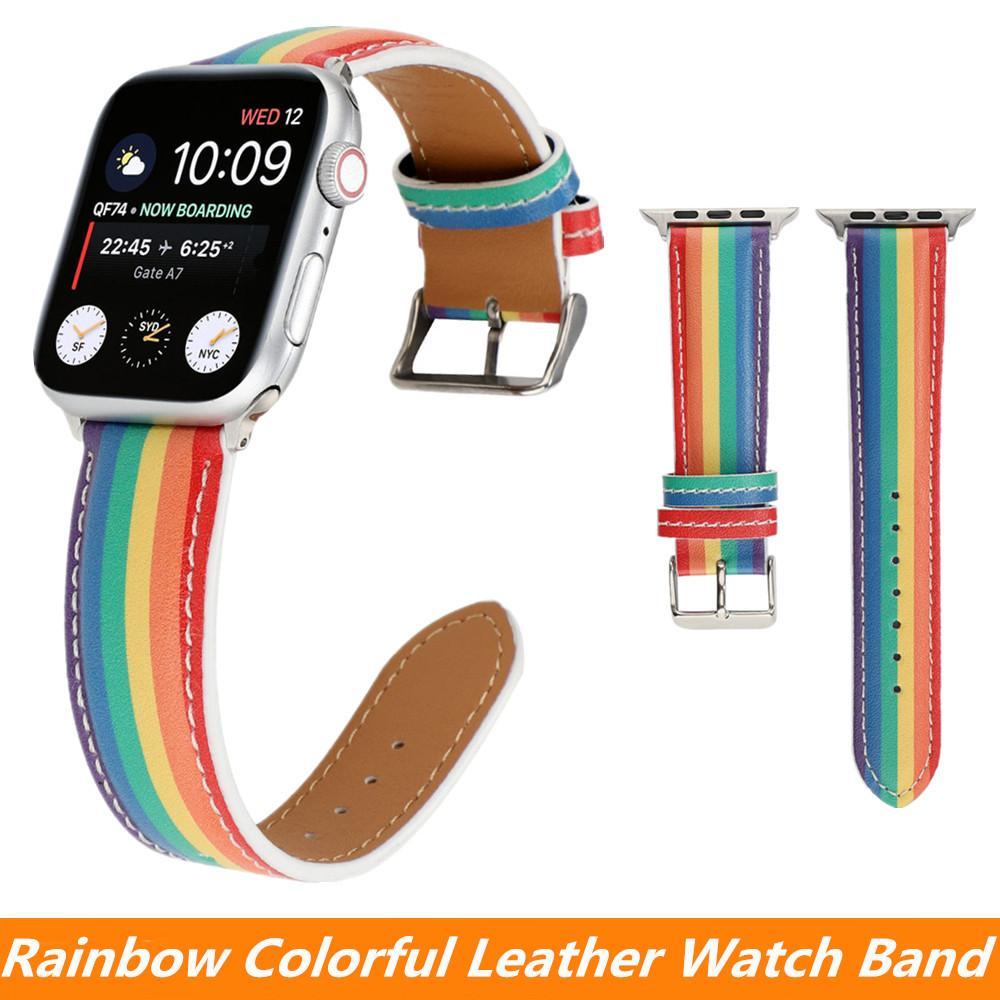 애플 시계 밴드 40mm의 44mm 42mm의 38mm의 iWatch 5 4 3 2 1 여자 / 여성 패션 팔찌 레인보우 컬러 가죽 스트랩