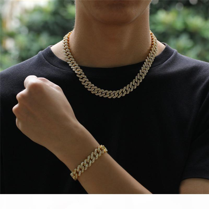 12mm Cuban Link Chain Gold Silver Alloy Necklace Bracelet Iced Out Crystal Rhinestone Bling Choker Necklaces Hip hop Jewelry for Men GM