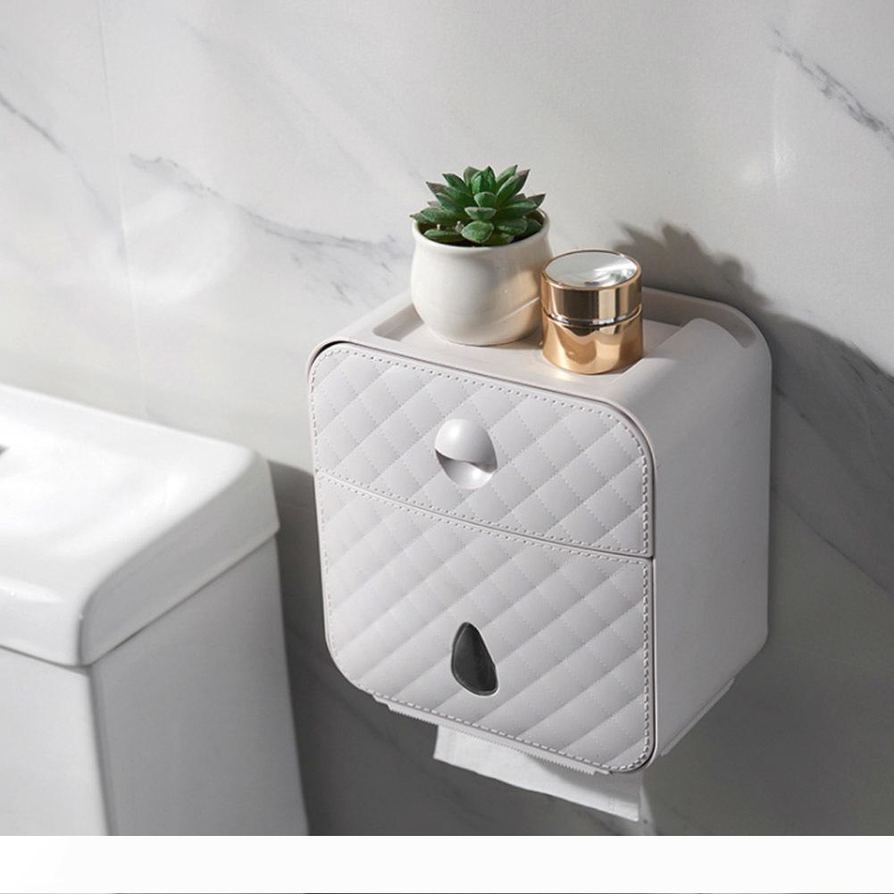 화장실 롤 홀더 방수 종이 타월 홀더 벽 Wc에 롤 용지 케이스 튜브 스토리지 박스 욕실 액세서리 Y200108 스탠드 장착