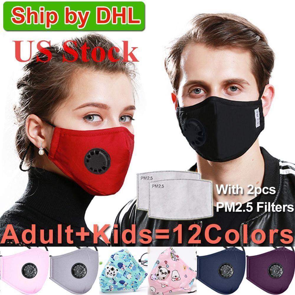 Stati Uniti Stock! Lavabile Maschera maschere anti-polvere riutilizzabile PM2.5 con 2 filtro della valvola di cotone di protezione dei bambini dei bambini viso maschere stoffa lavabili
