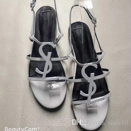2019 Melhor couro envernizado estilo sapatos de qualidade Designer de Verão Plano Mulheres únicas Letters sandálias vestido sapatos de casamento sapatos sexy Eu: 35-42 04