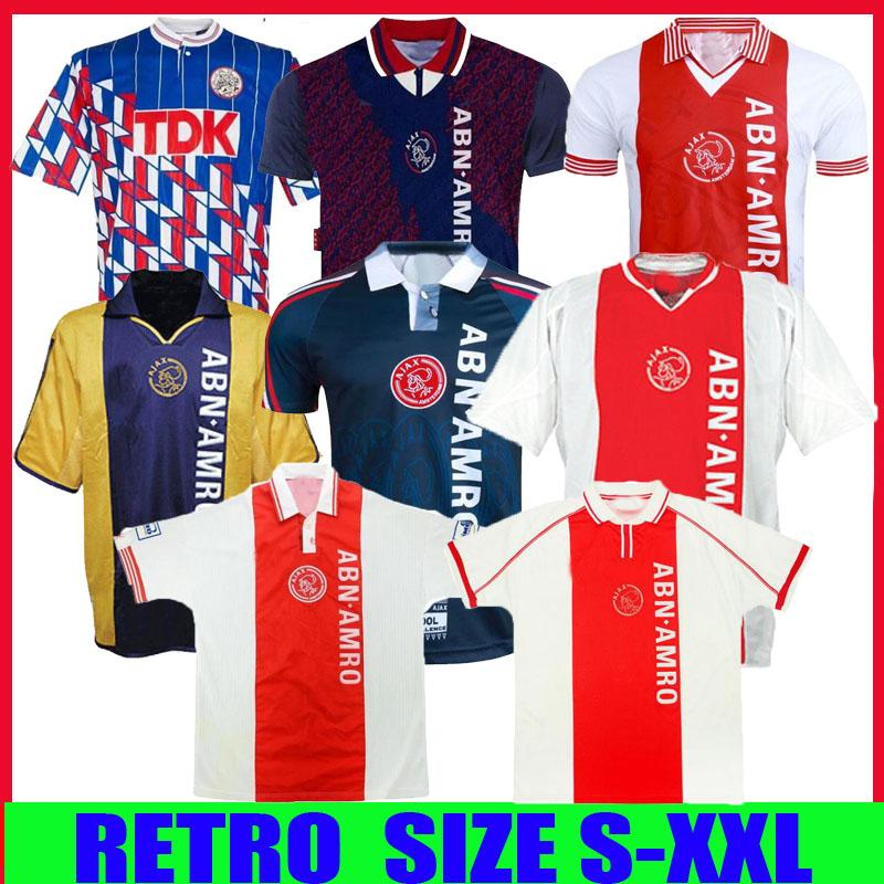 04 05 Ajax Red Retro édition Maillot de football 94 95 Ajax Litmanen Kluivert DE BOER SEEDORF DAVIDS 1990 1991 97 98 90 91 Maillot de football uniforme