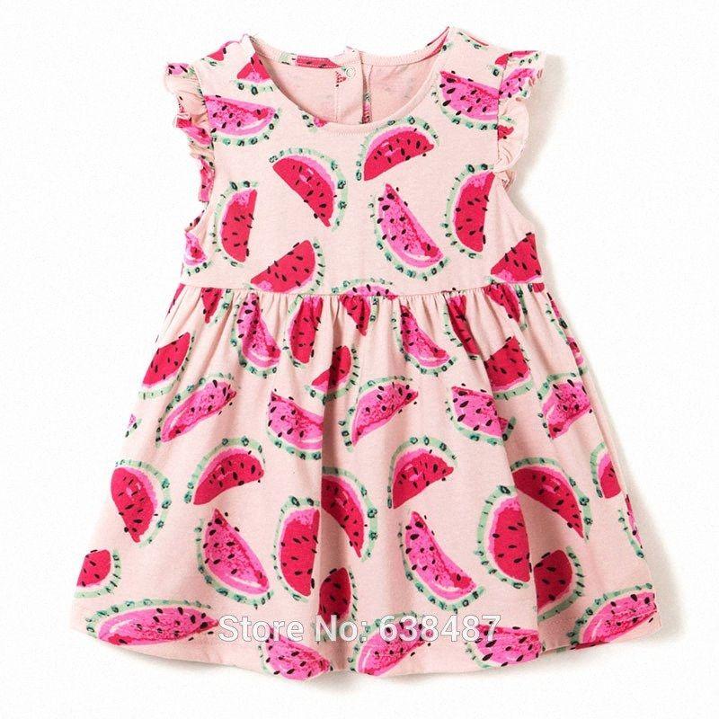 Marque 100% coton peigné manches courtes T-shirts bébé fille Vêtements enfants d'une seule pièce Princesse Doll robes pour les filles T-shirts Melon d'eau Sebb #