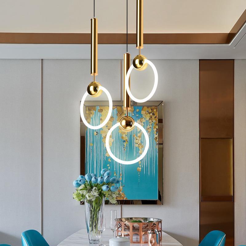 Modern Dining Room Pendelleuchte Gold Ring Schlafzimmer Pendelleuchte Startseite Innenleuchten Lustres Para Sala De Jantar