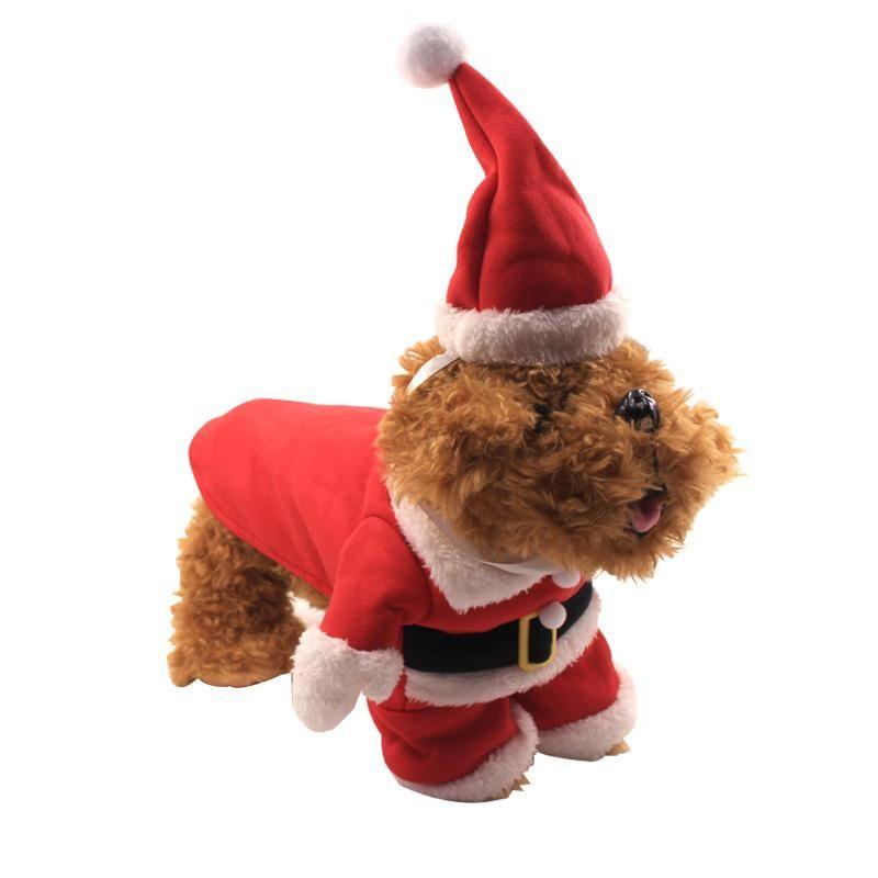 Red Christmas Pet Kleidung mit Hut XS-XXL-Winter-warmen Weihnachtshund Kleiden Hund Katzen Kleidung Lustige Weihnachtsmann-Kostüm für Hunde Katzen