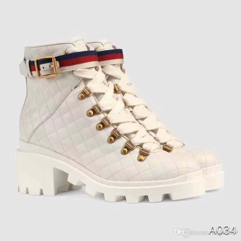 2020 Frauen Leder Bees Sterne gestickter Ankle Boot Lady Perlen Red Schnürsenkel 6cm Chunky Heel Gummischuh Sole Boots SC5
