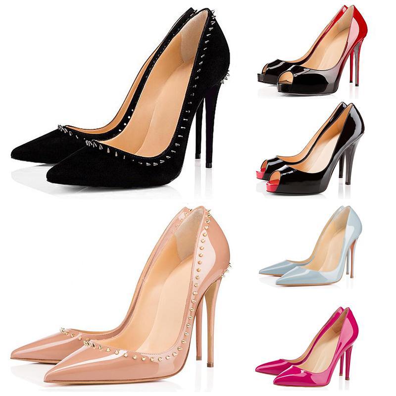 2020 красный низ мода высокие каблуки для женщин свадьба тройной черный ню желтый розовый шипы острым носом туфли на платформе туфли платье