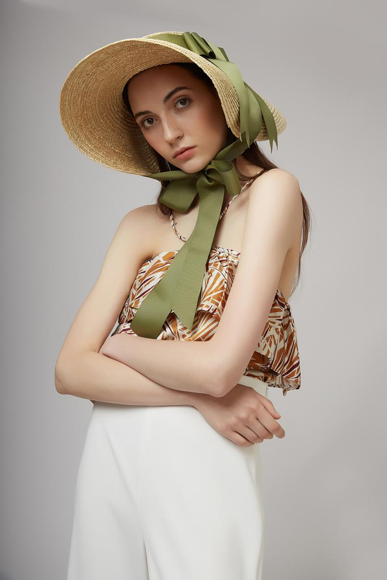 axi-cinta verde europea demostración del estilo del verano hecho a mano viento de papel playa del borde de ocio Y200716 las mujeres casquillo de la señora sombrero para el sol