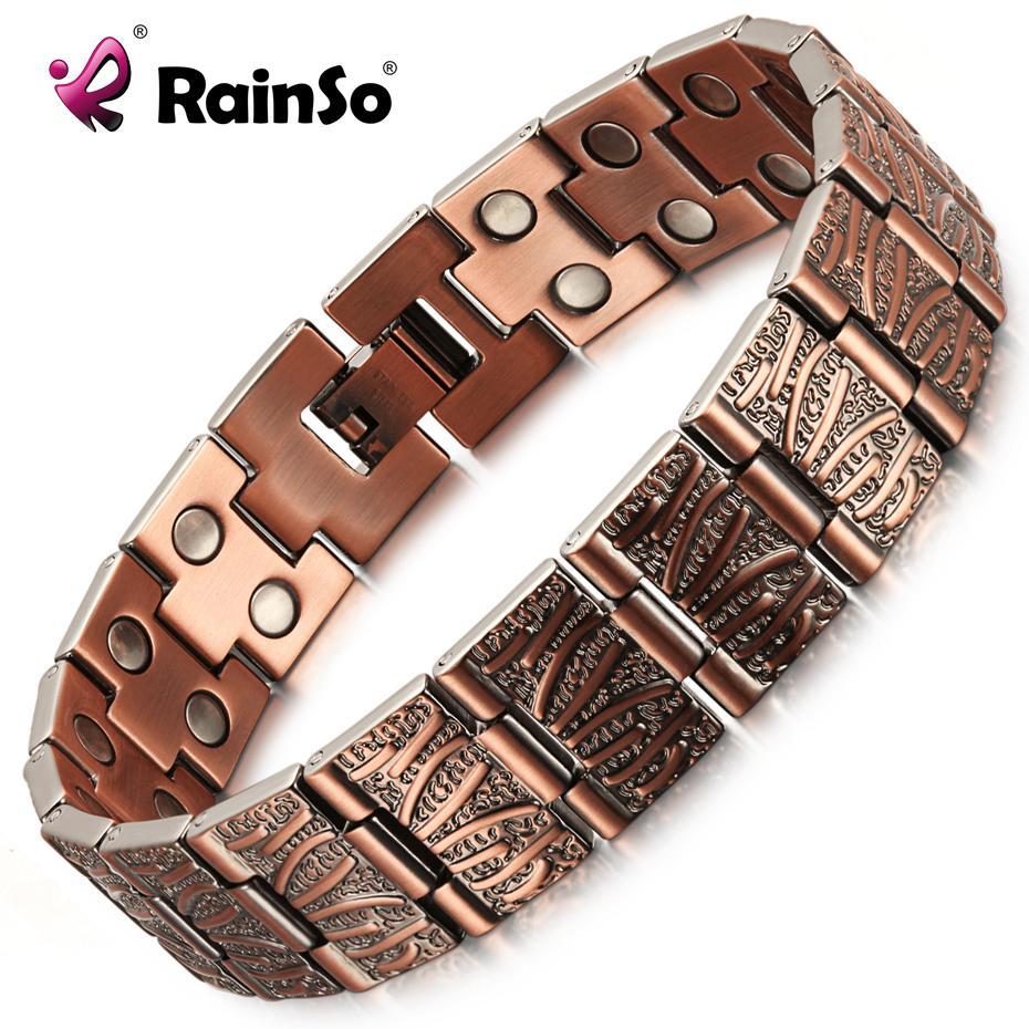 RainSo Vintage Cuivre douleur magnétique pur Relief Bracelet pour Hommes Thérapie double rangée aimants lien chaîne Homme Goutte navire 2020 CX200724