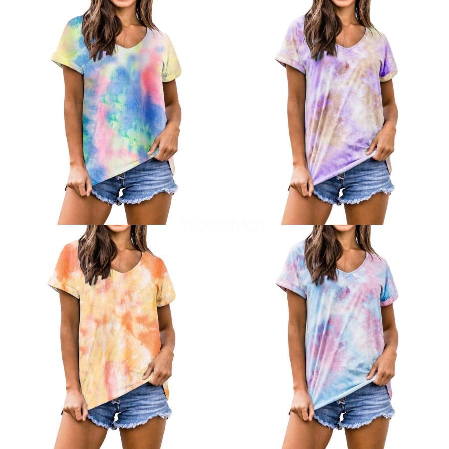 2020 Frühling, Sommer, 95% Baumwolle T-Shirt Frauen-Ausschnitt Halbarm T-Shirt Slim Fit Frauen-T-Shirt SEXY T-Shirt Femme 3XL Y200110 # 184