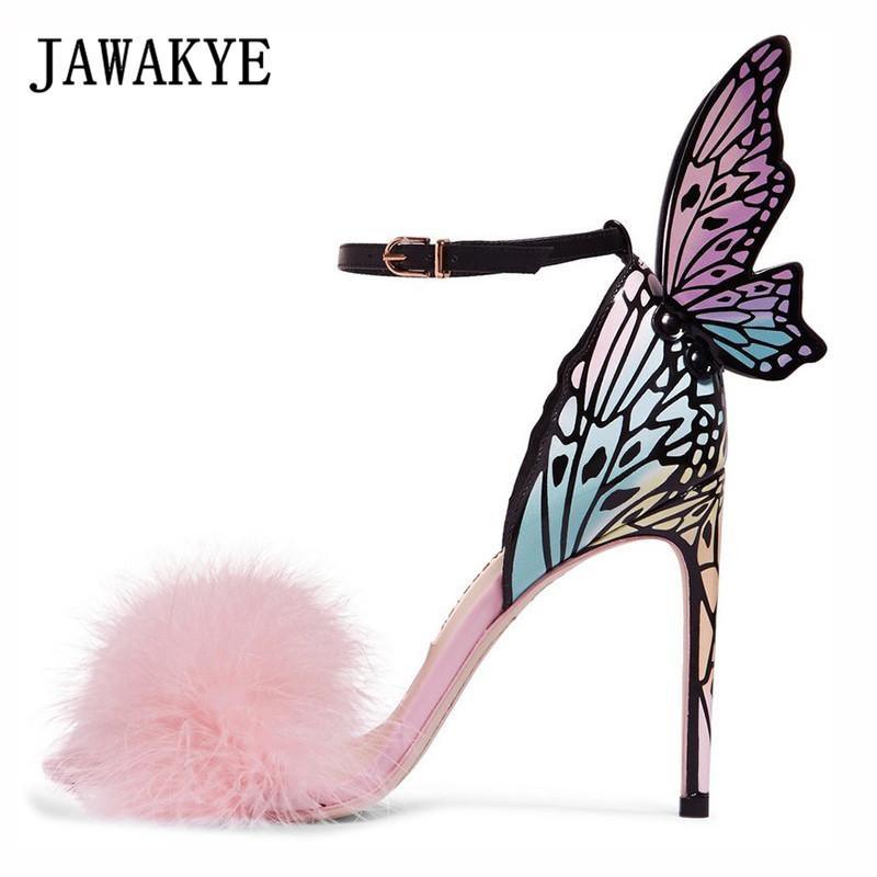 Sandali Elegante Feather Pink Feather Butterfly Wing Donne Open Toe Super sottili Tacchi alti Stiletti Scarpe da festa Gladiatore donna Gladiatore