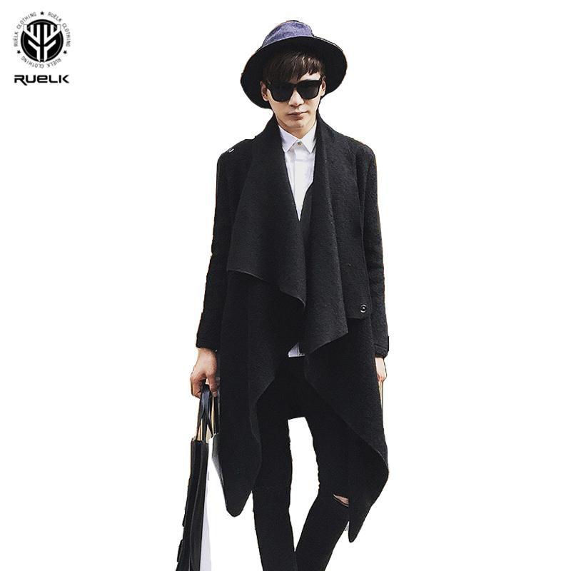 İnce Düzensiz Kişilik Kavramları RUELK Sonbahar Ve Kış Saç Stilist Sıcak Orta Boy Yün Coat Yeni Erkek Kore Sürüm