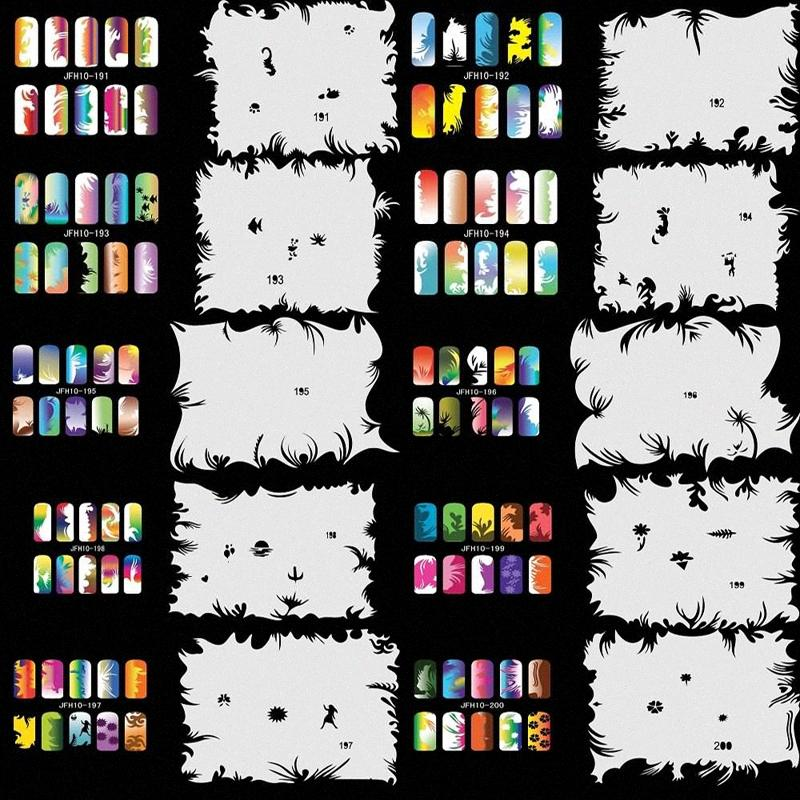 Großhandel OPHIR Airbrush Nail Stencil Set 10 Nagel-Werkzeuge Airbrushing 20 X Template-Blatt für Airbrush Kit Nail Art Lack _JFH10 fqY6 #