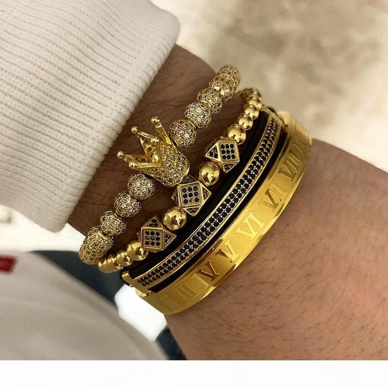 Regalo di giorno 3pcs + numeri romani Bracciali inossidabile coppia braccialetto Corona Charm For Love Vintage Bracciali per le donne gli uomini gioielli di San Valentino