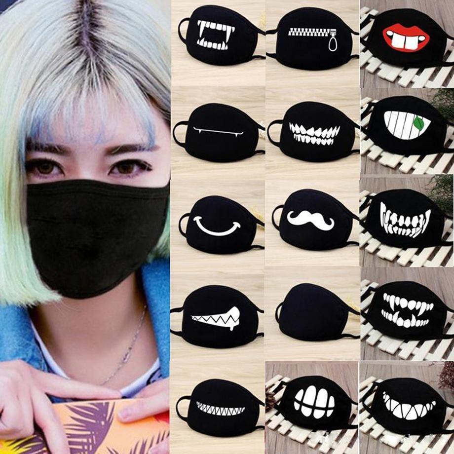 Black Bianco Cartoon Anime Maschere per feste per adulti Unisex cotone lavabile in cotone riutilizzabile viso bocca muffle designer maschera antivento all'aperto