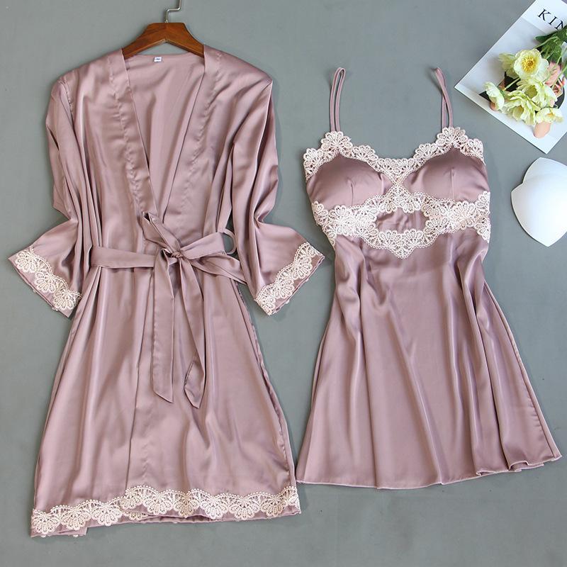 Noiva do laço da dama de honra do vestido de casamento de cetim Pijamas Verão Sexy Kimono Banho Vestido Para Mulheres 2PCS Robe Set Tamanho Grande Nightgown