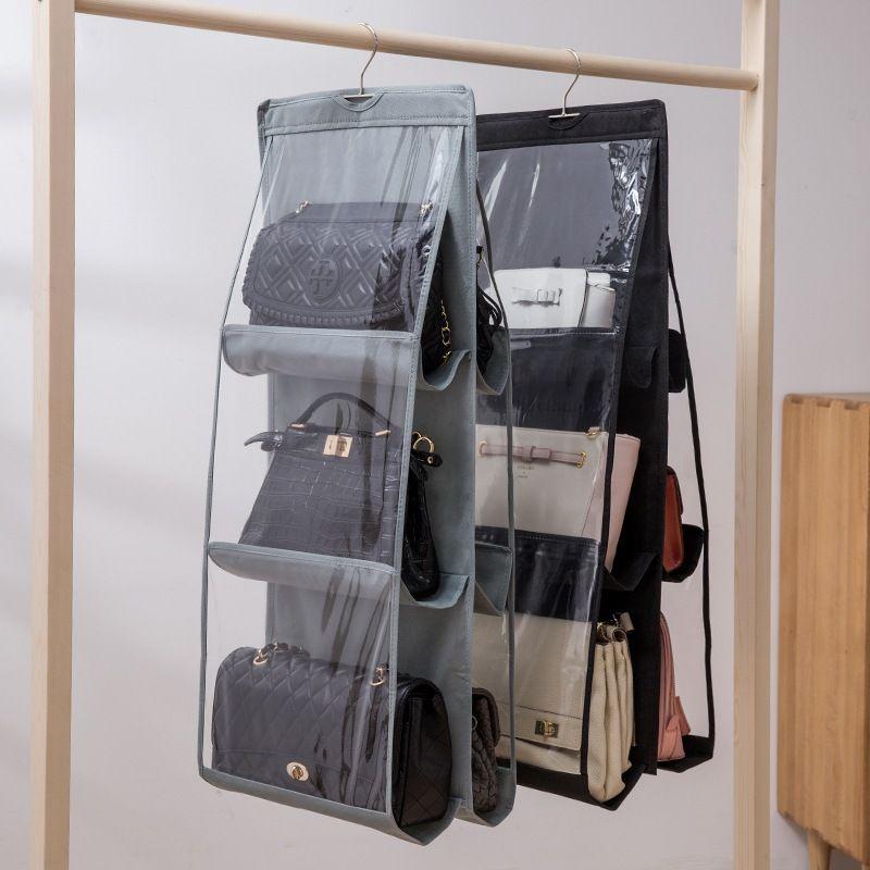 6 Taschen faltbarer hängender Beutel 3 Ebenen Folding Shelf-Beutel-Geldbeutel-Handtaschen-Organisator Tür Verschiedene Taschen-Aufhänger Speicher-Wandschrank Neu