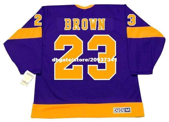 Atacado Mens Dustin Brown Los Angeles Kings 1970 do CCM Vintage Longe baratos Retro Hockey Jersey