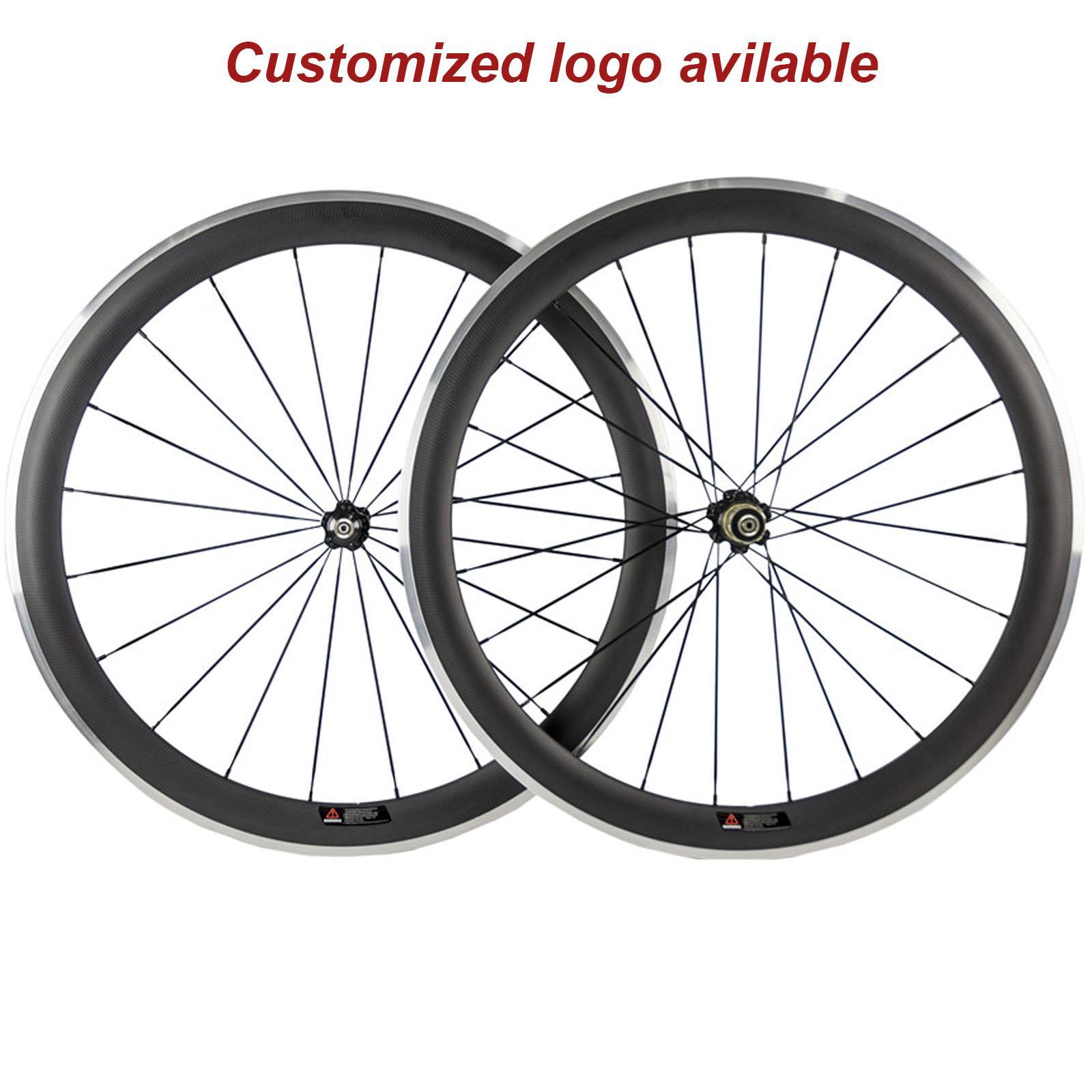 Figura carbonio Wheelset 700C 38/50/60 / 80mm lega di alluminio Superficie freni graffatrice 3K opaco carbonio rotelle con Novatec 271 Hub