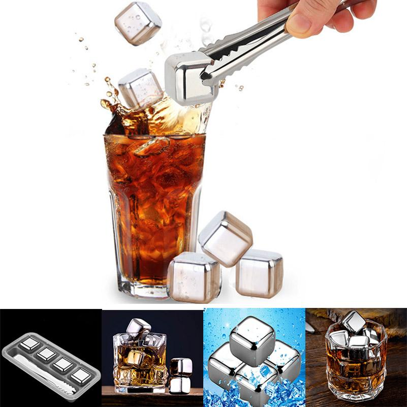 6Pcs Stainless Steel Ice Metal Model Coffee Whisky Bar Wine Chilling Stones