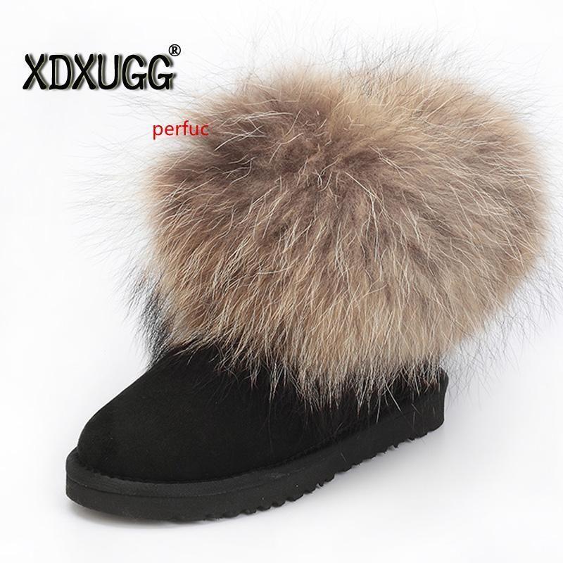 Nouvelle Australie fourrure de mouton naturelle et Fox bottes de neige bottes laine femmes courte chaussures d'hiver de fond plat chaud, livraison gratuite!