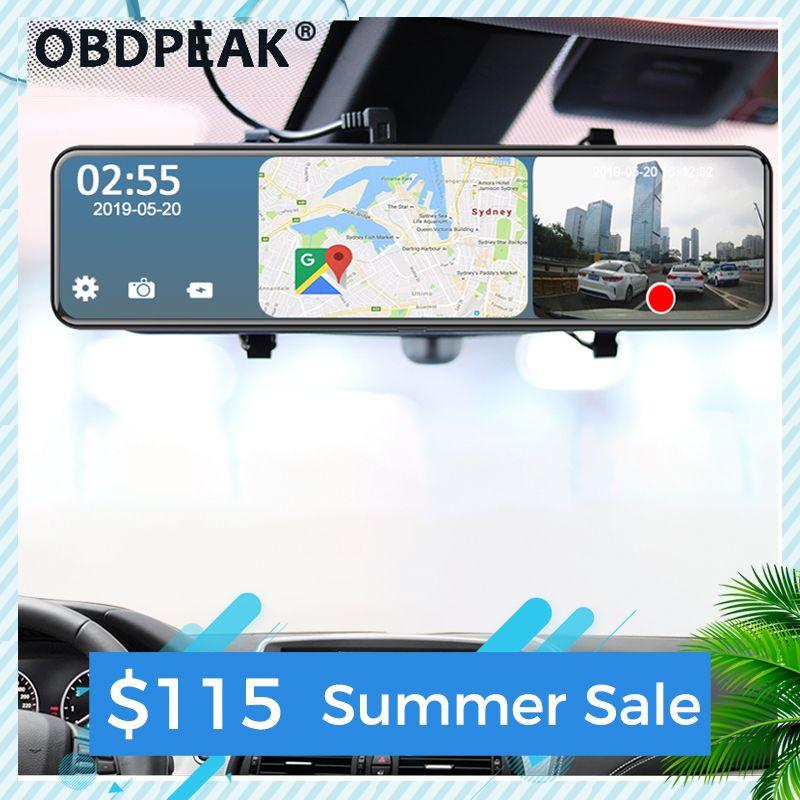 Coche DVR DVRS Android 4G 12 pulgadas Retrovisor espejo Rema corriente Dash Cam Dual 1080p Cámara Adas Super Night GPS Registrador de navegación