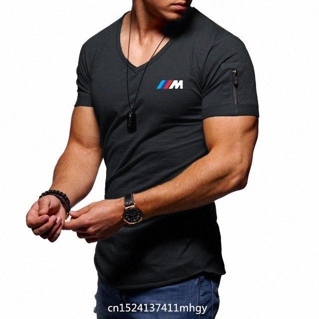 Ba 2QnI # itibaren 2020 2020 Yeni Erkek V Yaka T Shirt Spor Vücut Geliştirme Tişörtlü High Street Yaz İçin Kısa Sleeve Fermuar Casual Pamuk Üst J